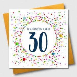 Penblwydd Hapus 30 Multicoloured Pom Pom Card