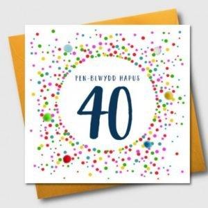 Penblwydd Hapus 40 Multicoloured Pom Pom Card