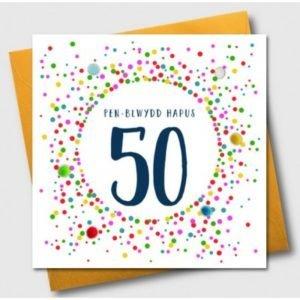 Penblwydd Hapus 50 Multicoloured Pom Pom Card