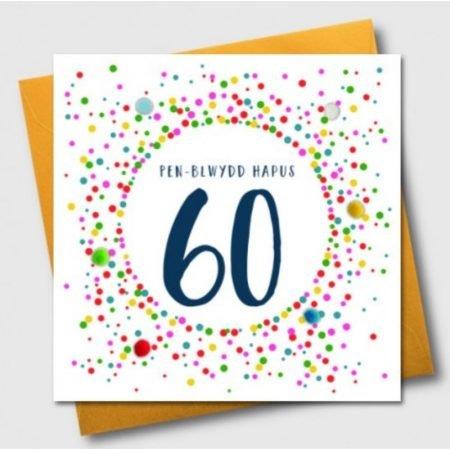 Penblwydd Hapus 60 Multicoloured Pom Pom Card