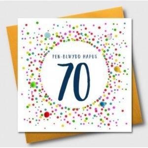 Penblwydd Hapus 70 Multicoloured Pom Pom Card