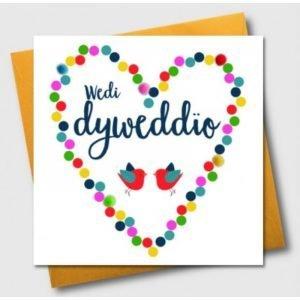 Wedi Dyweddio Birds And Heart Card
