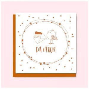 Da Iawn Copper Bird and Stars Card