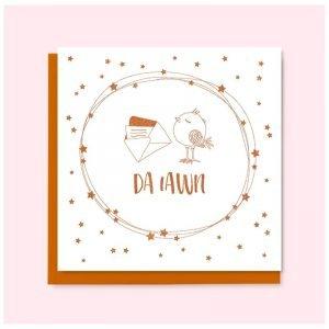 Da Iawn Copper Bird and Stars Card