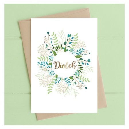 Diolch Flower Wreath Card