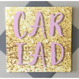 Cariad Gold Glitter Card