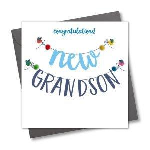 Congratulations New Grandson Pom Pom Card