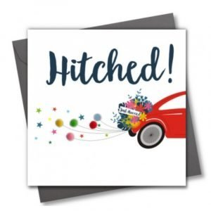 Hitched! Just Married Pom Pom Card