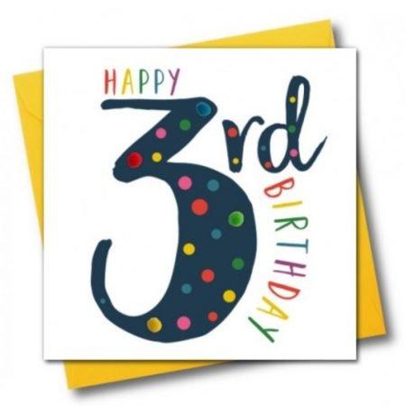 Happy 3rd Birthday Pom Pom Navy Card