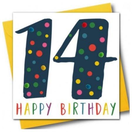 14 Happy Birthday Navy Pom Pom Card