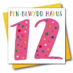Penblwydd Hapus 12 Pink Pom Pom Card