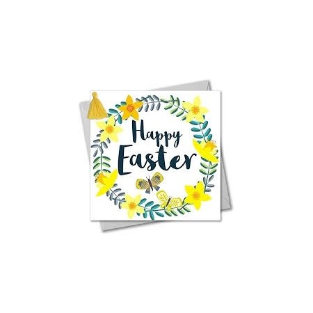 Happy Easter Yellow Flower Wreath Card