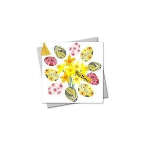 Pasg Hapus Eggs and Doffodils Card
