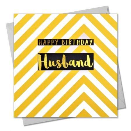 Happy Birthday Husband Yellow & White Chevrons Card