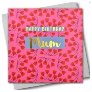 Happy Birthday Mum Red Flowers Card