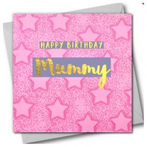 Happy Birthday Mummy Pink Stars Card