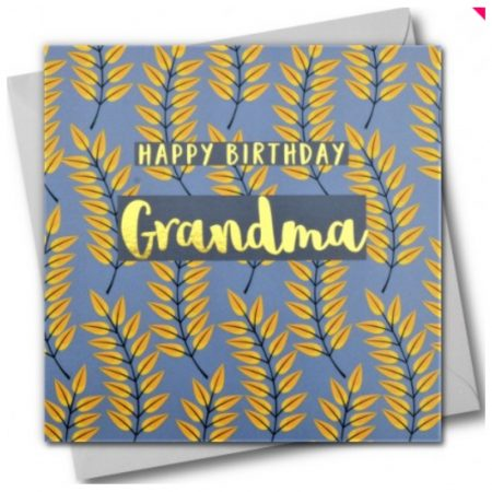 Happy Birthday Grandma Yellow Leaves Card