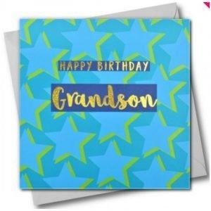 Happy Birthday Grandson Blue Stars Card