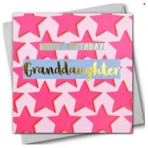Happy Birthday Granddaughter Pink Stars Card
