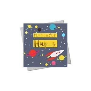 Penblwydd Hapus Space Card