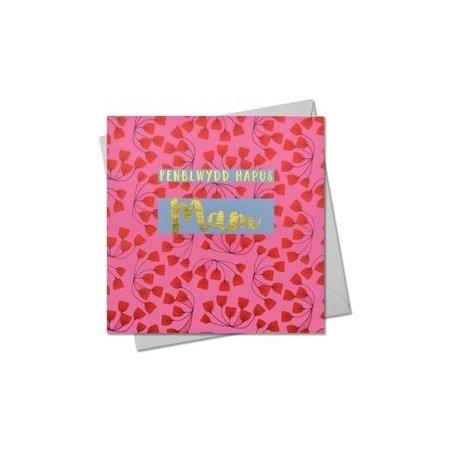 Penblwydd Hapus Mam Red Flowers Card