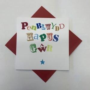 Penblwydd Hapus Gwr Colourful Card