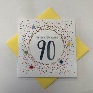 Penblwydd Hapus 90 Multicoloured Pom Pom Card