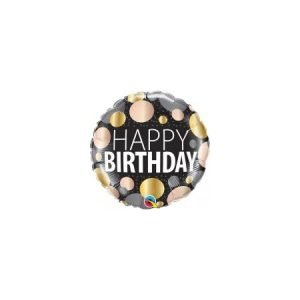 18 inch Happy Birthday Balloon Gold and Rose Gold Metallic Dots