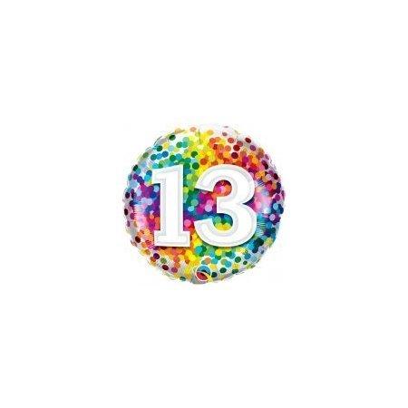 18 inch Age 13 Rainbow Confetti Balloon