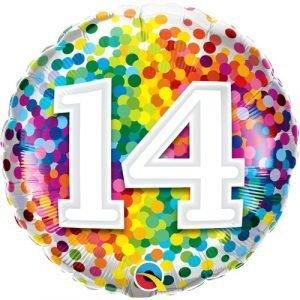 18 inch Age 14 Rainbow Confetti Balloon