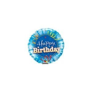 18 inch Happy Birthday Balloon Blue Streamers