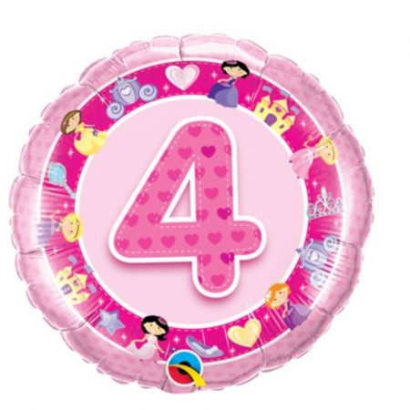 18 inch Pink Age 4 Princess Balloon