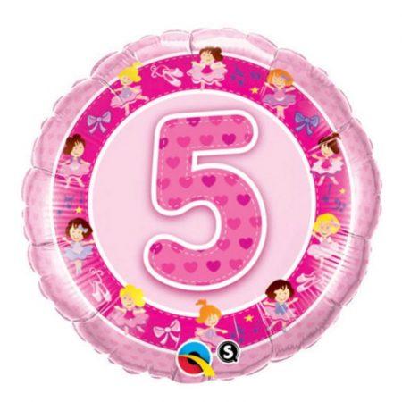 18 inch Pink Age 5 Ballerina Balloon