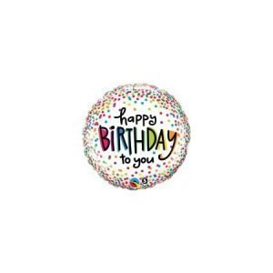 18 inch Happy Birthday Balloon Colourful Dots