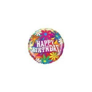 18 inch Happy Birthday Balloon Psychedelic Daisies