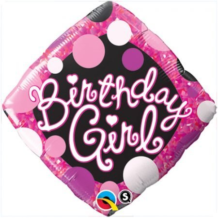 18 inch Balloon Birthday Girl Pink and Black Diamond