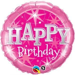 18 inch Happy Birthday Balloon Pink and Silver Stars