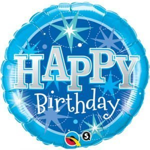 18 inch Happy Birthday Balloon Blue and Silver Stars