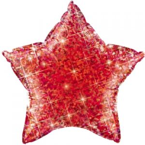 18 inch Holographic Star Balloon - Jewel Red
