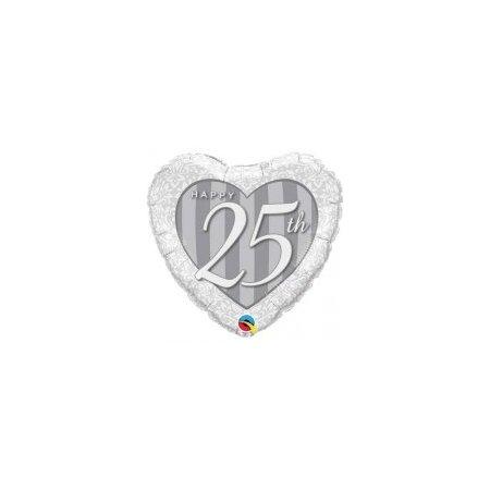 18 inch Happy 25th Anniversary Silver Heart Balloon