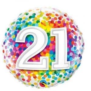 18 inch Age 21 Rainbow Confetti Balloon