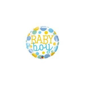 18 inch New Baby - Baby Boy Pastel Metallic Spots Balloon