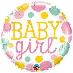 18 inch New Baby - Baby Girl Pastel Metallic Spots Balloon