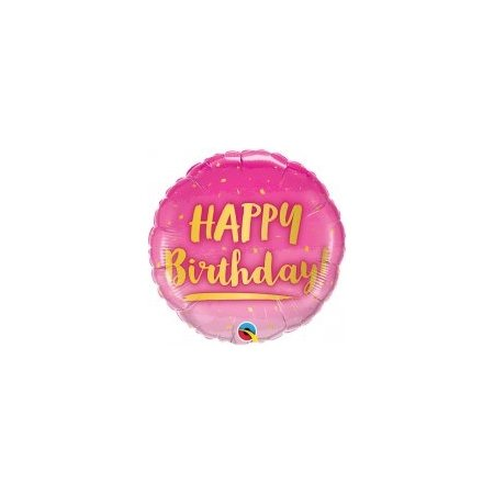 18 inch Happy Birthday Balloon Pink and Gold