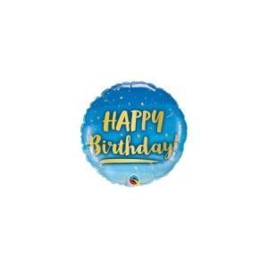 18 inch Happy Birthday Balloon Blue and Gold