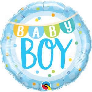 18 inch New Baby - Baby Boy Blue Bunting Balloon