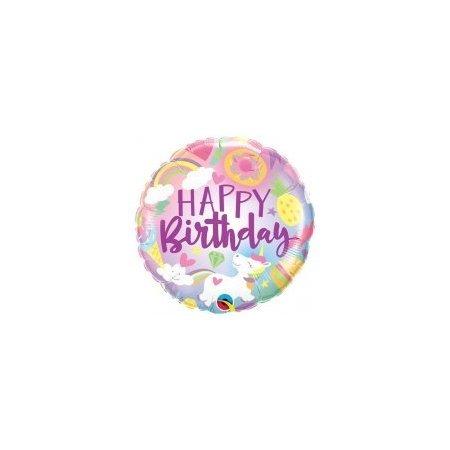 18 inch Happy Birthday Balloon - Unicorn Sweet Treats