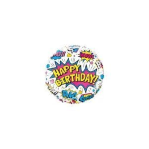 18 inch Happy Birthday Balloon - Pink Comic