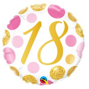 18 inch Age 18 Pink and Gold Dots Balloon