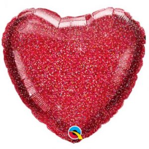 18 inch Glittergraphic Heart Balloon - Red